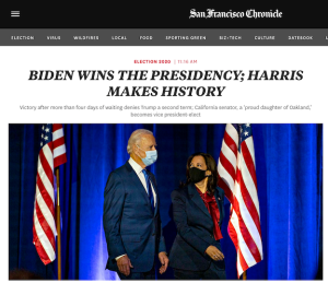 "A photo of Joe Biden and Kamala Harris with the headline, ""Biden Wins the Presidency; Harris Makes History"" from the San Francisco Chronicle website"