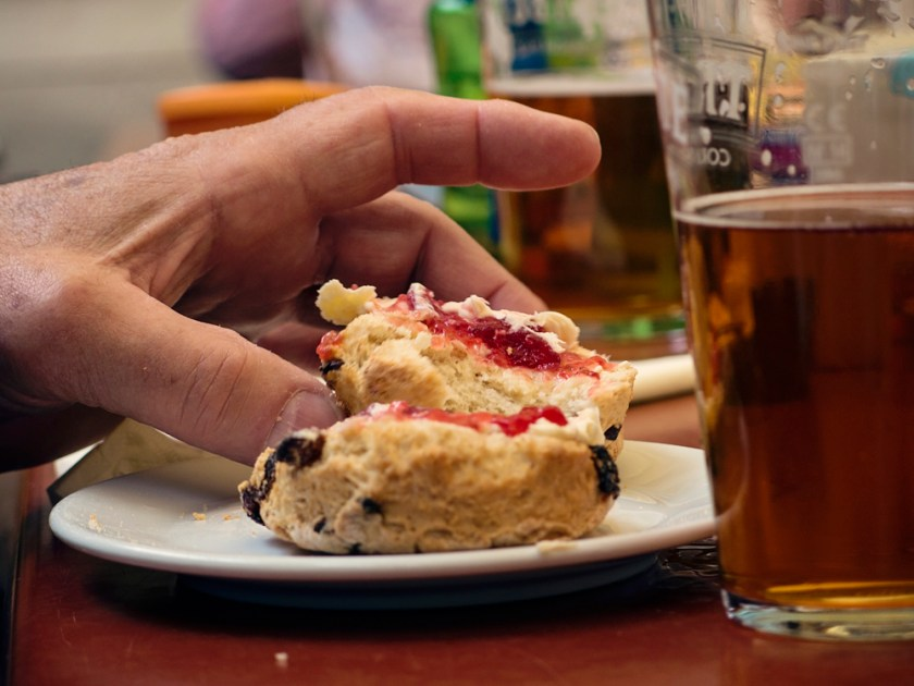 Devonshire scone and beer!
