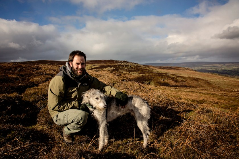 Walking Photographer Rich Bunce on the moor with Alfie