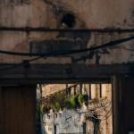 View through derelict door