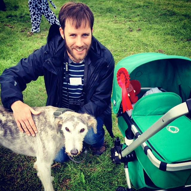Alfie and Rich Bunce Walking Photographer at Burley Dog Show