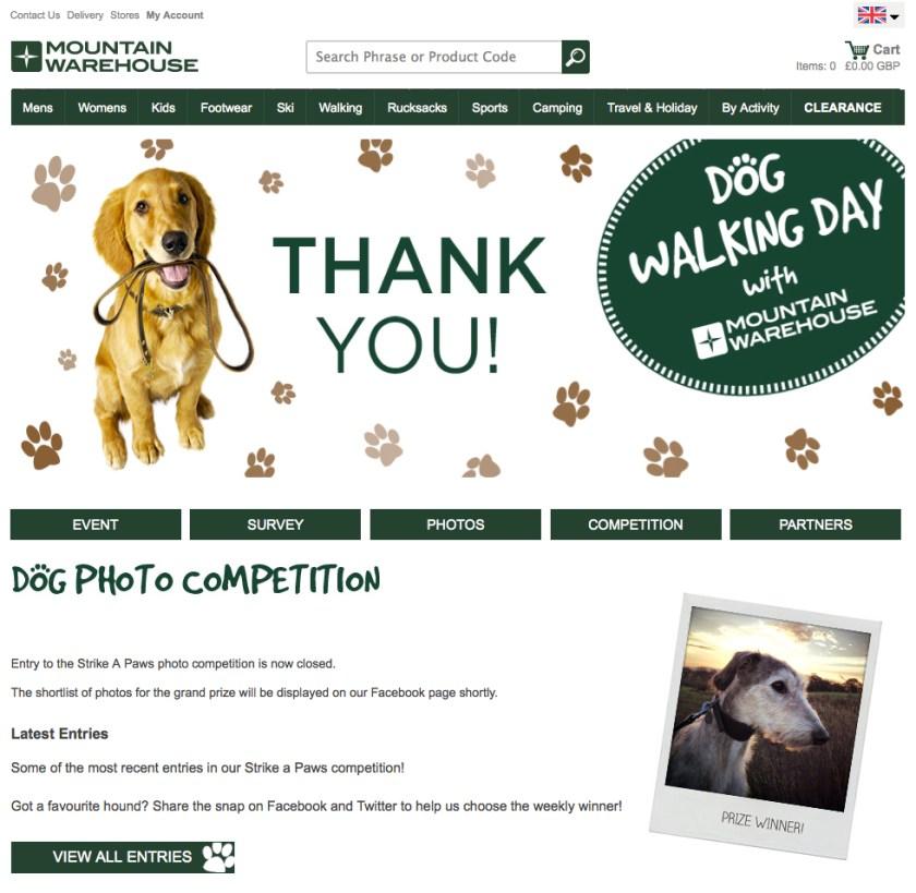 Mountain Warehouse dog photo competition