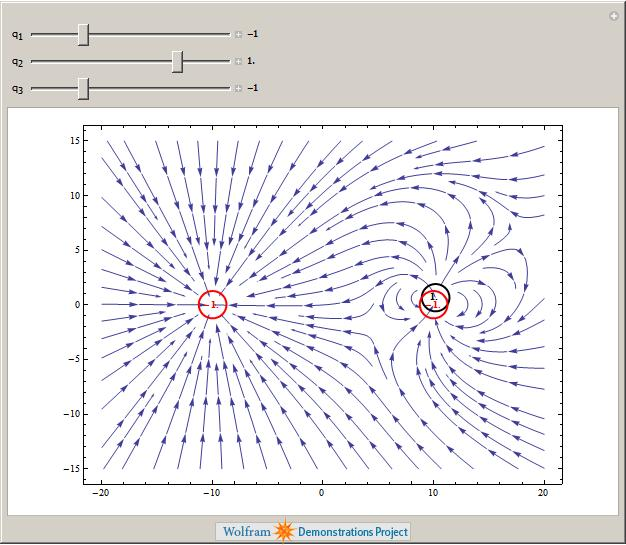 Electric field of 3 point charges