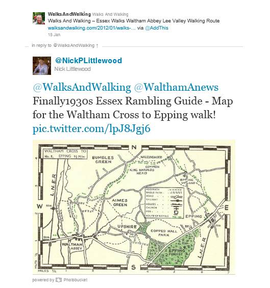 Walks And Walking - Essex Walks - Waltham Abbey to Epping along the Essex Ramblers 1930s Walking Route
