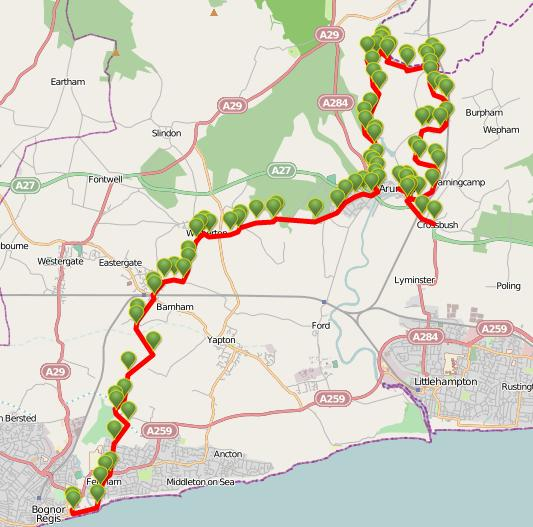 Walks And Walking - West Sussex Walks - Arundel Castle And Arundel Park To Bognor Regis Walking Route Map