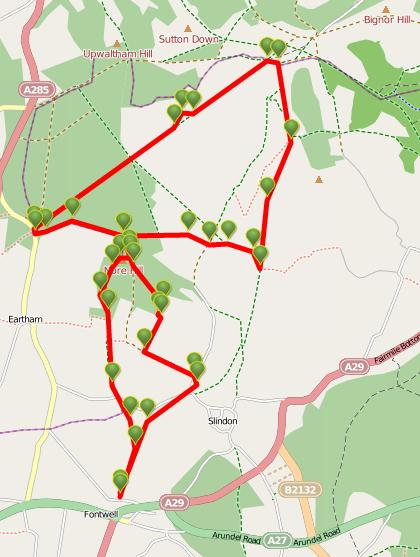 Walks And Walking - West Sussex Walks Slindon Estate National Trust Walking Route Map