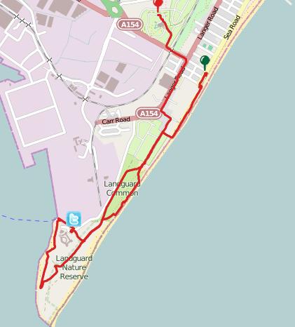 Walks And Walking - Landguard Fort Felixstowe Walking Route Map