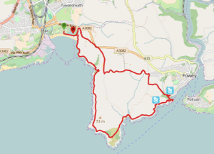 Walks And Walking - Par Sands Walk In Cornwall - Walking Map