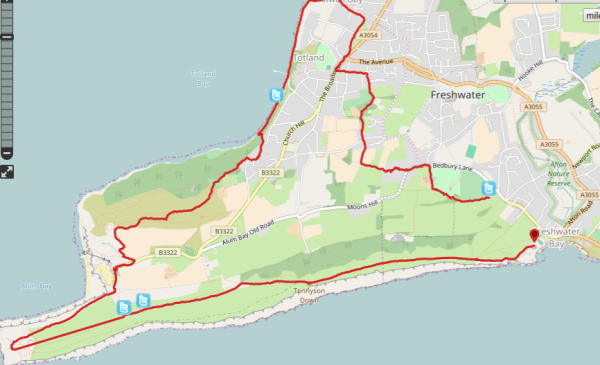 HF Holidays Guided Walk - The Needles Circular Walking Route Map