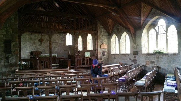 HF Holidays Guided Walk - The Needles Circular Walking Route - St Agnes Thatched Church Inside