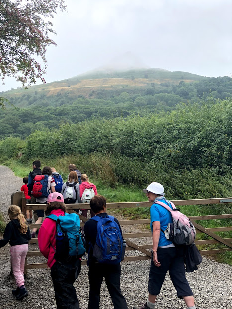 Starting our walk to a misty Roseberry Topping