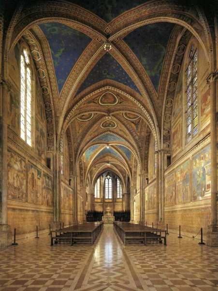 Interior of the Basilica of San Francesco in Assisi