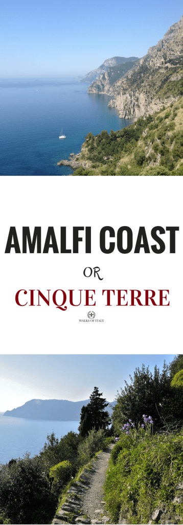 The blue waters and dramatic cliffs of the Amalfi Coast and Cinque Terre are very inviting. Check out our guide for how to decide between the two.
