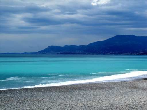 Beautiful beach in Italy near Ventimiglia