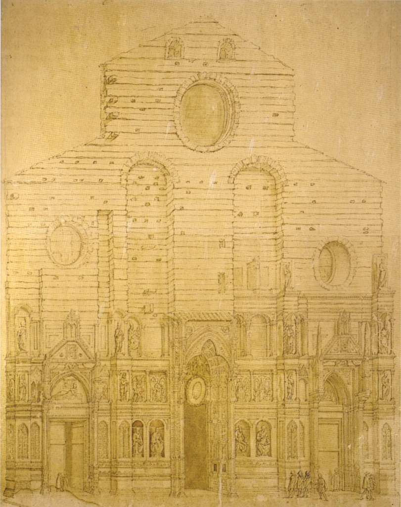 This is Bernardo Pocetti's original drawing that was used to help reconstruct the original facade. Without it, Di Tk's ideal would have been lost forever.