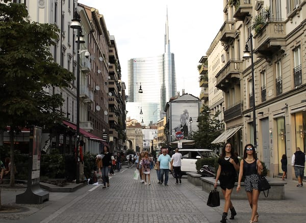 The mirror and steel Unicredit towers over fashionable Corso Como, the perfect embodiment to Milan's relationship between business and fashion. Photo by Gina Mussio