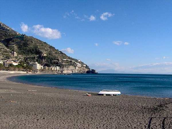 Maiori's sandy beach is one of the biggest beaches along the Amalfi Coast. Photo by Sabine Cretella
