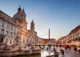 Fountain of the Four Rivers and the church of Sant'Agnese in Agone in Piazza Navona.