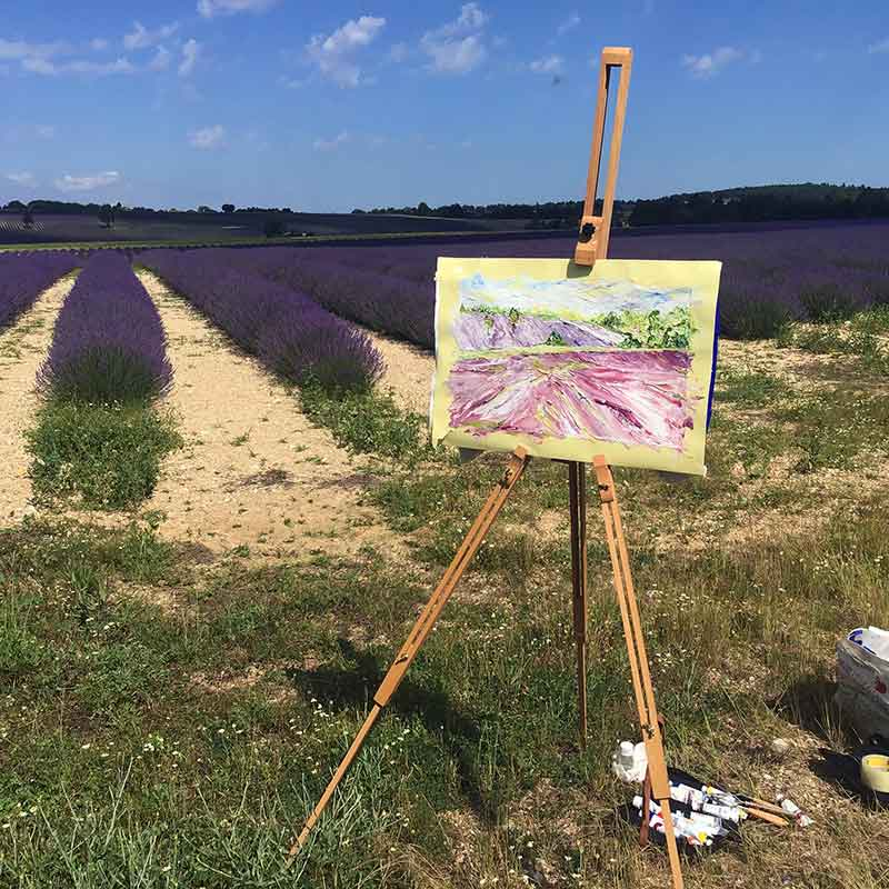 A painting of lavender field during Atelier Provence with Walk the Arts