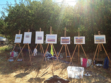 Paintings by several artists of all levels from our art workshop in Ptrovence