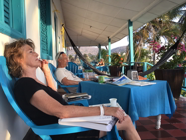 Resting during our art and food workshop winter holiday in Cartagena Colombia South America