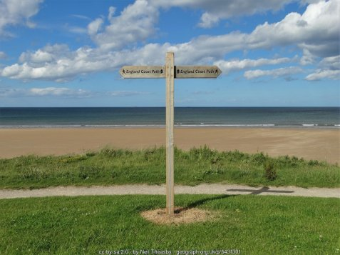 Above Redcar Sands at Millclose Howle The signpost marks the England Coast Path