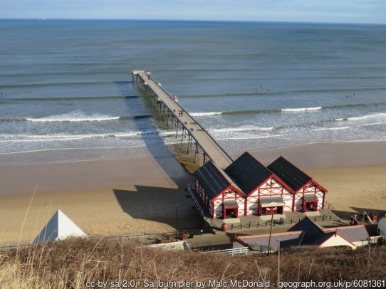 Saltburn pier A view of the pier at Saltburn-by-the-Sea, photograpehd on a bright and sunny day in early March 2019.