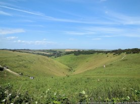 Devil's Dyke is a V-shaped valley on the South Downs Way in southern England, near Brighton and Hove. It is part of the Southern England Chalk Formation.