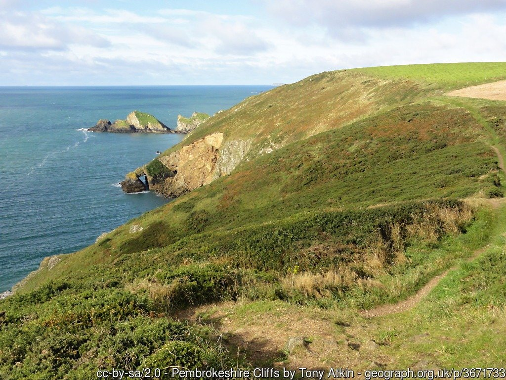 Pembrokeshire Cliffs High cliff and easy walking on the coast path between Newgale and Solva
