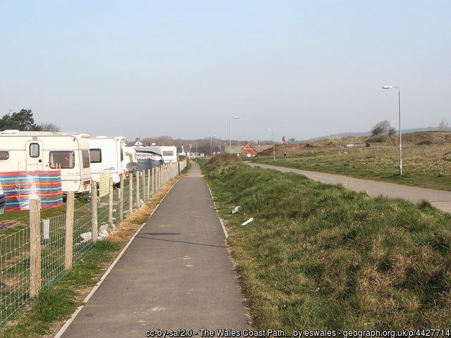 The Wales Coast Path heading inland in Porthcawl