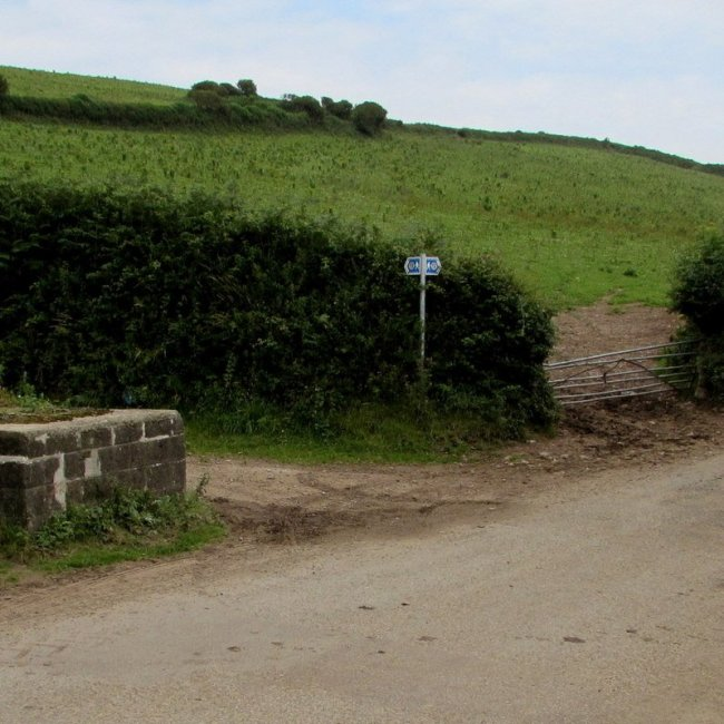 Wales Coast Path signs opposite Penallt Farm west of Kidwelly