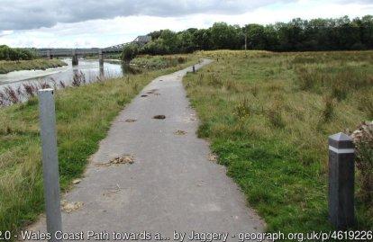 Wales Coast Path towards a bascule bridge, Carmarthen