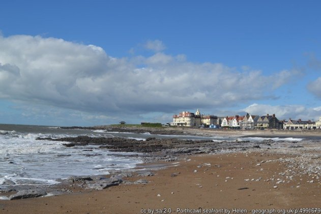 Porthcawl seafront Looking across the beach and rocks at Porthcawl.