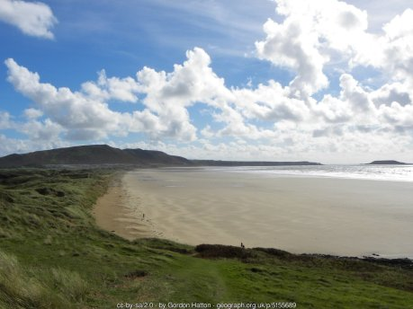 The view south along the three mile stretch of Rhossili Beach