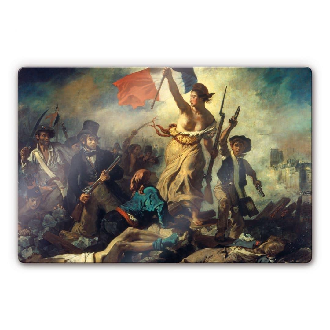 Kunstdruck Eugne Delacroix Die Freiheit fhrt das Volk auf Glas als Dekoration  wallartde