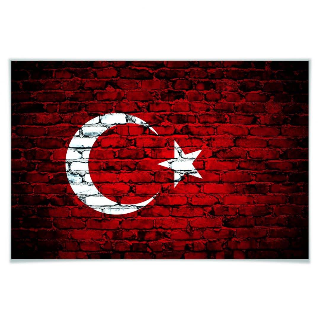 Poster Trkische Flagge  wallartde