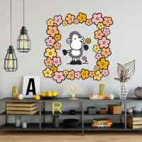 Sheep World Sheep with Flowers Wall sticker