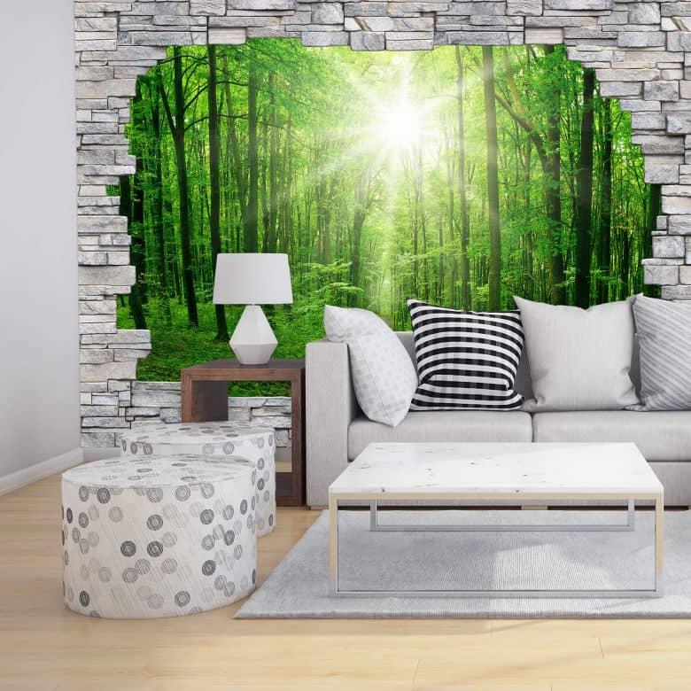 3D Fototapete Papiertapete Sunny Forest Mauer  wallartde