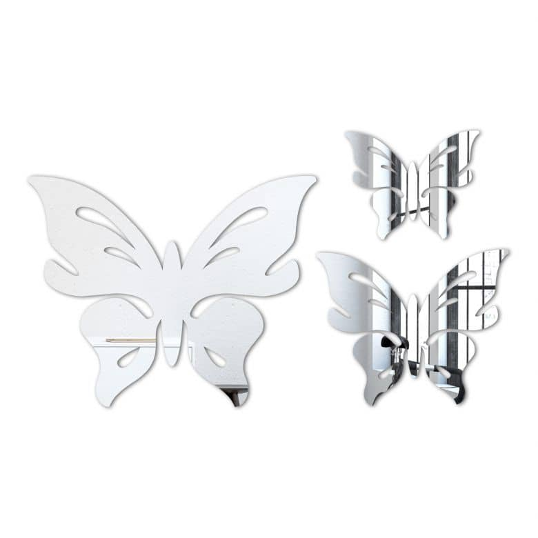 butterfly floris set 3 pieces wall mirror