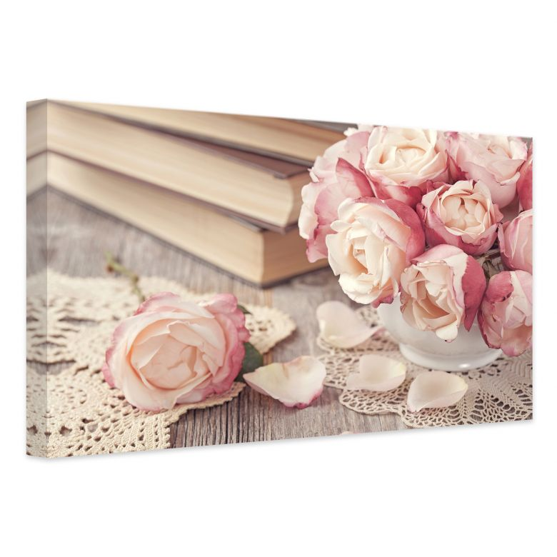Leinwand Rosa Rosen  pure Romantik als Dekoration fr die