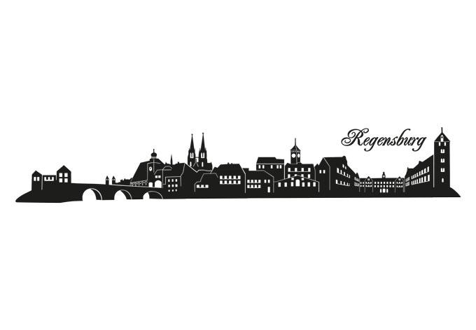 Wandtattoo Regensburg Skyline  Wandaufkleber aus