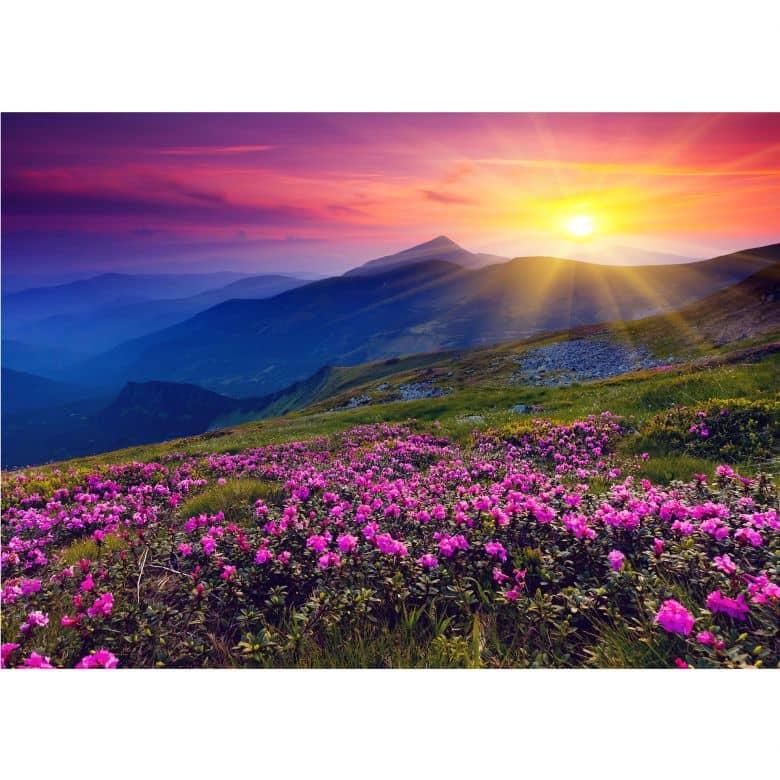 papier peint photo coucher de soleil en montagne