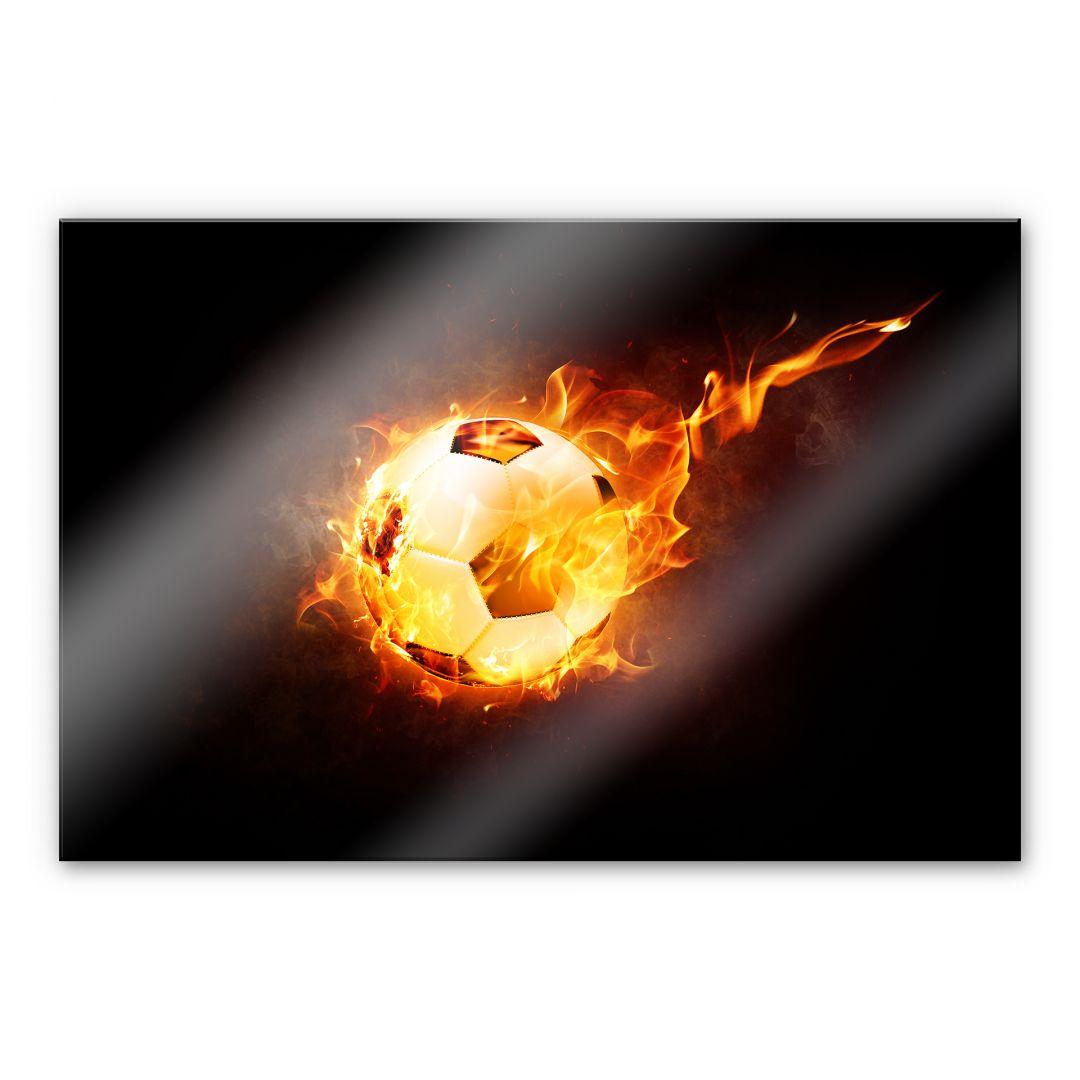 Spritzschutz Fuball in Flammen  wallartde