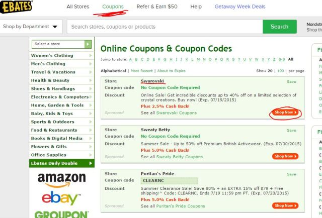 ebates coupon code list