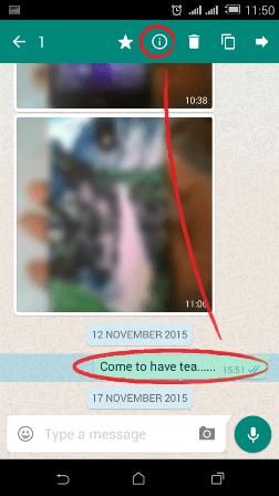 Tap and hold message in whatsapp