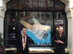 Sarah and Carey outside Sotheby's in front of Sotheby's Rock Auction Display, September 2015