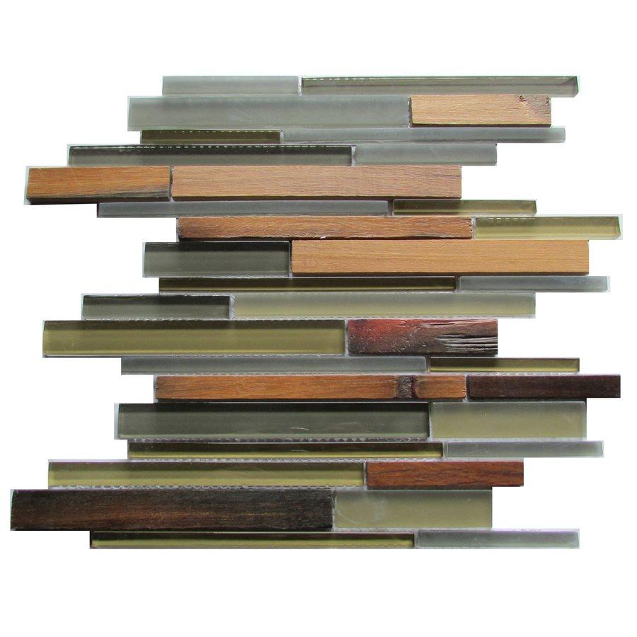 ambergris reed 12x12 glass wood mosaic