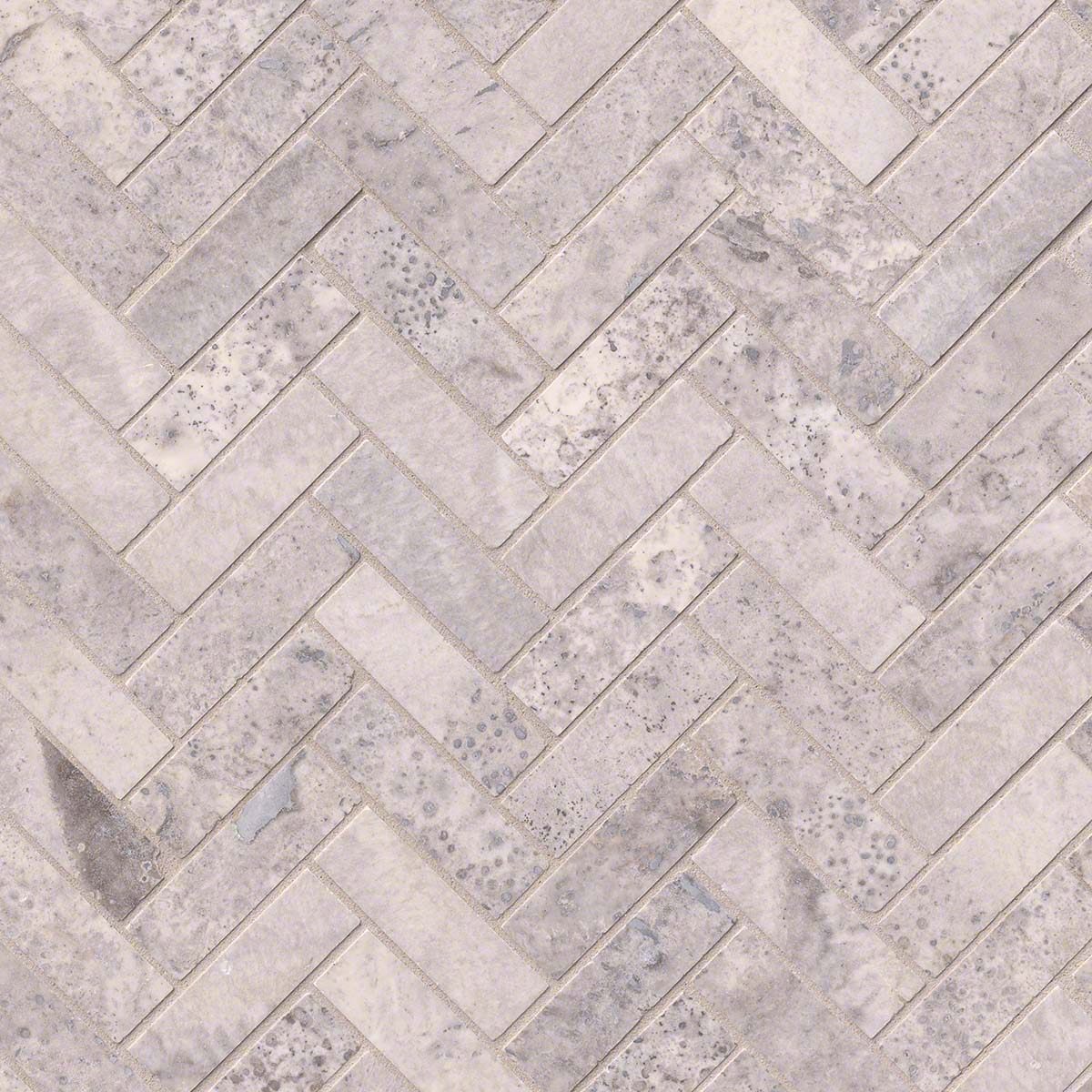 Buy Silver Travertine Herringbone Pattern Honed