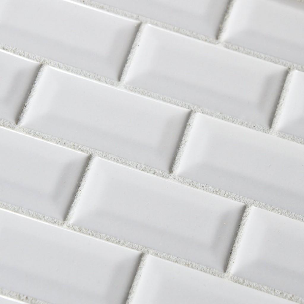 white bevel 3x6 subway glossy ceramic