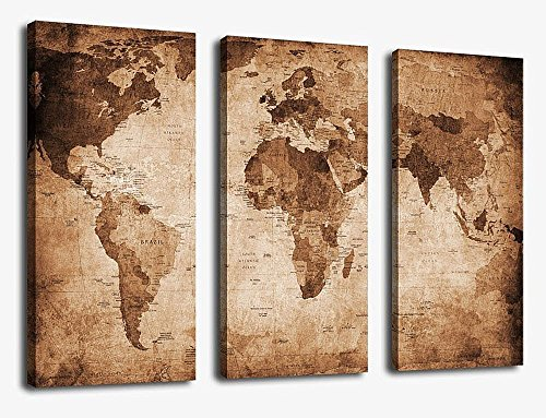 Canvas Wall Art Prints Vintage World Map Painting Ready To